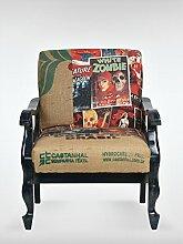 Shabby Chic Vintage Sessel Ohrensessel 63 x 75 x 82 cm Wohnzimmersessel bunt schwarz Buchenholz