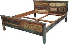 Shabby Doppelbett in Bunt Recyclingholz