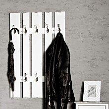 Shabby Garderobenpaneel in Weiß 100 cm hoch