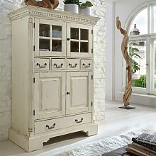 Shabby Highboard in Creme Fichte Massivholz
