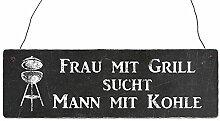 Shabby Vintage Schild Türschild FRAU MIT GRILL