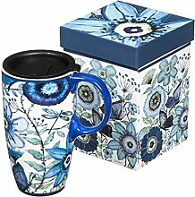 Shades of Indigo Flowers and Butterflies Ceramic
