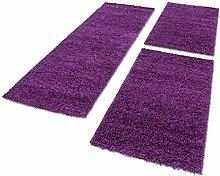 Shaggy Hochflor Teppich Carpet 3TLG Bettumrandung