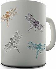 Shaggy Hochflor Teppich Funny Design Bürostuhl mit Libellen Geschenk Tee Kaffee Becher Tasse