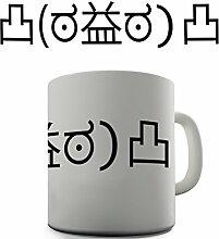 Shaggy Hochflor Teppich Funny Design EMOJI offensive Aufschrift Tea Coffee Kaffee Becher Tasse Geschenk fürs Büro