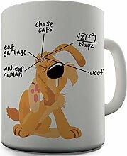 Shaggy Hochflor Teppich Funny Design Gehirn Hund mit Aufschrift Tea Coffee Thermobecher fürs Büro