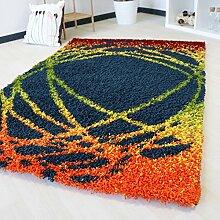 Shaggy Hochflor Teppich mit Multi Farben Muster in 5 verschiedenen Grössen bunt farbig für Wohnzimmer und Jugendzimmer mit Öko-Tex (160 x 230 cm)