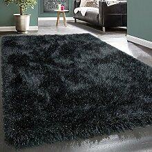 Shaggy Hochflor Teppich Modern Soft Garn Mit Glitzer In Uni Anthrazit Grau, Grösse:120x170 cm
