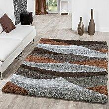 Shaggy Hochflor Teppich Wohnzimmer Welle In Beige Braun Creme Kupfer AUSVERKAUF, Größe:80x150 cm