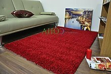 Shaggy-Teppich, 11Farben erhältlich, 5cm dick, weicher Flor, mit Rutschfesten Teppichstoppern, berclon, Polypropylen, rot, 80 x 150 cm