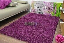 Shaggy-Teppich, 11Farben erhältlich, 5cm dick, weicher Flor, mit Rutschfesten Teppichstoppern, berclon, Polypropylen, violett, 160 x 230 cm
