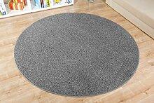 Shaggy Teppich Duke rund - Geprüfte Qualität | Flormaterial: 100 % Polypropylen | In verschiedenen Größen erhältlich | Für Wohnzimmer Büro Schlafzimmer und Kinderzimmer geeignet, Farbe:Dunkel-Grau, Größe:100 cm rund
