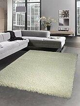 Shaggy Teppich flauschig Hochflor Langflor Bettvorleger Wohnzimmerteppich Läufer uni beige creme Größe 80x150 cm