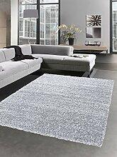 Shaggy Teppich flauschig Hochflor Langflor Bettvorleger Wohnzimmer Teppich Läufer grau Größe 120x170 cm