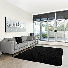 Shaggy-Teppich | Flauschiger Hochflor fürs Wohnzimmer, Schlafzimmer oder Kinderzimmer | einfarbig, schadstoffgeprüft, allergikergeeignet in Farbe: Schwarz; Größe: 200 x 250 cm