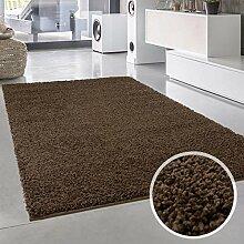 Shaggy-Teppich, Flauschiger Hochflor Wohn-Teppich, Einfarbig/ Uni in Braun für Wohnzimmer, Schlafzimmmer, Kinderzimmer, Esszimmer, Größe: 200 x 200 cm Quadratisch
