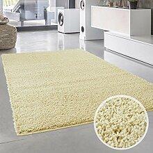 Shaggy-Teppich, Flauschiger Hochflor Wohn-Teppich, Einfarbig/ Uni in Creme für Wohnzimmer, Schlafzimmmer, Kinderzimmer, Esszimmer, Größe: 120 x 120 cm Rund