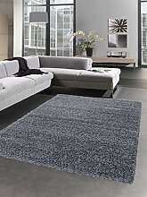 Shaggy Teppich Hochflor Langflor Bettvorleger Wohnzimmer Teppich Läufer grau Größe 120 cm Rund