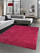 Shaggy Teppich Hochflor Langflor Bettvorleger Wohnzimmer Teppich Läufer uni magenta viollett pink Größe 80x150 cm