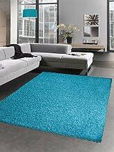 Shaggy Teppich Hochflor Langflor Bettvorleger Wohnzimmer Teppich Läufer uni türkis Größe 200 x 290 cm