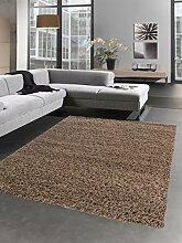 Shaggy Teppich Hochflor Langflor Bettvorleger Wohnzimmer Teppich Läufer uni braun Größe 160x230 cm
