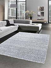 Shaggy Teppich Hochflor Langflor Bettvorleger Wohnzimmer Teppich Läufer uni hellgrau grau Größe 200 cm Rund