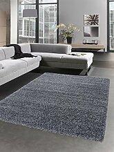 Shaggy Teppich Hochflor Langflor Bettvorleger Wohnzimmer Teppich Läufer uni grau Größe 80x150 cm