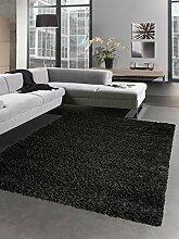 Shaggy Teppich Hochflor Langflor Bettvorleger Wohnzimmer Teppich Läufer uni schwarz Größe 65x130 cm