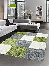 Shaggy Teppich Hochflor Langflor Bettvorleger Wohnzimmer Teppich Läufer Karo grün grau creme Größe 80x150 cm
