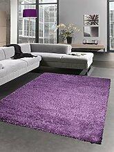 Shaggy Teppich Hochflor Langflor Bettvorleger Wohnzimmer Teppich Läufer uni lila Größe 65x130 cm