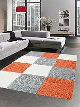 Shaggy Teppich Hochflor Langflor Bettvorleger Wohnzimmer Teppich Läufer Karo rot orange terra grau creme Größe 80 x 250 cm