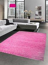 Shaggy Teppich Hochflor Langflor Bettvorleger Wohnzimmer Teppich Läufer uni pink rosa Größe 120x170 cm