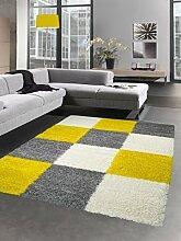 Shaggy Teppich Hochflor Langflor Bettvorleger Wohnzimmer Teppich Läufer Karo gelb grau creme Größe 120x170 cm