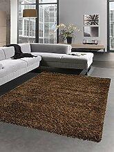 Shaggy Teppich Hochflor Langflor Bettvorleger Wohnzimmer Teppich Läufer uni braun Größe 80 cm Rund