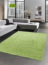 Shaggy Teppich Hochflor Langflor Bettvorleger Wohnzimmer Teppich Läufer uni grün Größe 60x110 cm