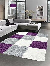 Shaggy Teppich Hochflor Langflor Bettvorleger Wohnzimmer Teppich Läufer Karo lila grau creme Größe 80x150 cm