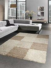 Shaggy Teppich Hochflor Langflor Bettvorleger Wohnzimmer Teppich Läufer Karo beige creme Größe 120x170 cm