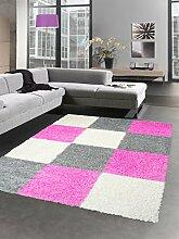 Shaggy Teppich Hochflor Langflor Bettvorleger Wohnzimmer Teppich Läufer Karo pink rosa grau creme Größe 120x170 cm