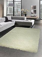 Shaggy Teppich Hochflor Langflor Bettvorleger Wohnzimmer Teppich Läufer uni weiß Größe 67 cm Rund