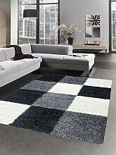 Shaggy Teppich Hochflor Langflor Bettvorleger Wohnzimmer Teppich Läufer Karo schwarz grau creme Größe 160x230 cm