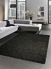 Shaggy Teppich Hochflor Langflor Bettvorleger Wohnzimmer Teppich Läufer grau anthrazit Größe 80x150 cm
