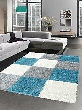 Shaggy Teppich Hochflor Langflor Bettvorleger Wohnzimmer Teppich Läufer Karo türkis grau creme Größe 80x150 cm