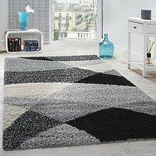 Shaggy Teppich Hochflor Langflor Weich Geometrisch Gemustert Grau Schwarz , Grösse:120x170 cm