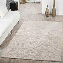 Shaggy Teppich Hochflor Modern Einfarbig Kuschelig Weich Wohnzimmer Leicht Beige, Größe:160x220 cm