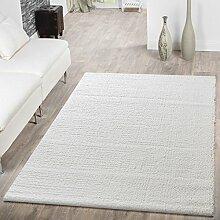 Shaggy Teppich Hochflor Modern Einfarbig Kuschelig Weich Wohnzimmer Creme, Größe:80x150 cm