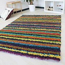 Shaggy Teppich mit bunten Streifenmustern Hochflor Langflor Teppich in verschiedenen Größen Kuschelteppich mit Öko-Tex (60 x 110 cm)