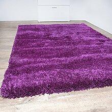 Shaggy Teppich Modern Hochflor Einfarbig Uni Wohnzimmer Kuschelig Weich Lila, Größe:133x190 cm