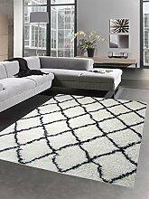Shaggy Teppich Wohnzimmerteppich Hochflor Langflor Rauten creme schwarz Größe 160x230 cm