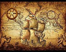 ShAH Tapete Retro Segeln Weltkarte Wandbild