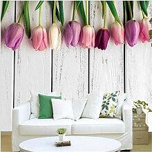 ShAH Tapete Retro Weiß Holz- Tulpen Hintergrund
